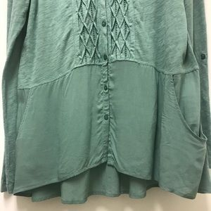 Anthropologie Tops - Meadow Rue Anthro | Reha Henley Tunic Sage Green